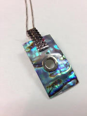 Abalone Rectangle Drop Necklace with S.S. Chain