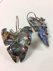 Abalone Butterfly earrings with Silver Detail