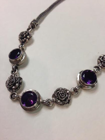 Ameythst Bali Rose Necklace