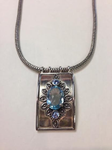 Blue Topaz Sterling Silver Bali Necklace