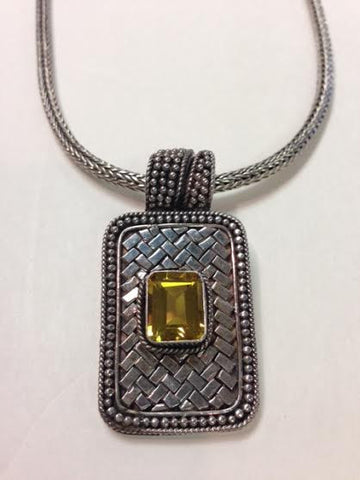 Citrine Basketweave S.S. Bali Necklace