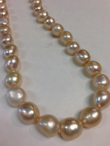 Golden Creme Single Strand Pearl Necklace