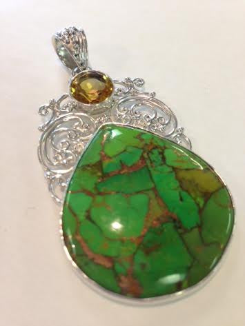 Green Mountain Turquoise and Citrine Pendant