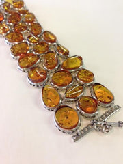 Oval Shaped Wide Amber Link Bracelet