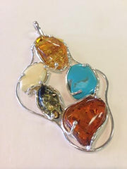 Amber & Turquoise Pendant set in S.S.