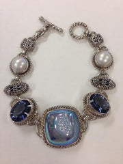 Blue Druzy and Blue Quartz Pearl Bracelet