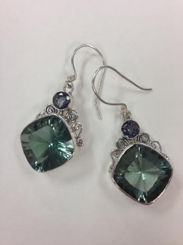 Square Green Qtz Earrings with Mystic Topaz