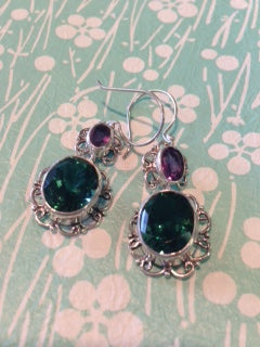 Green Quartz and Amethyst Earrings