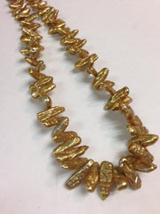 Gold Single Strand Biwa Pearls