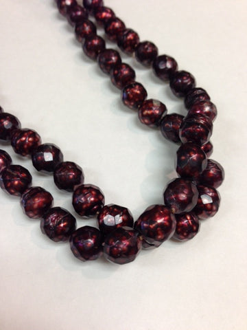 Red Round Faceted Single Strand Pearl Necklace
