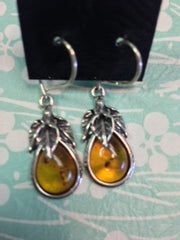 Amber Earrings with Triple Leaf Design