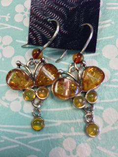 Butterfly Amber Fishhook Earrings