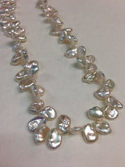 Oval Shaped White Biwa Pearls