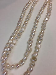 "42"" long Single Strand White Pearl Necklace"