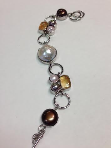 Multi Stone Pearl and Citrine S.S. link Bracelet
