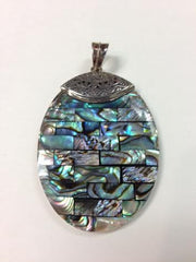 Abalone Oval Pendant set in S.S.
