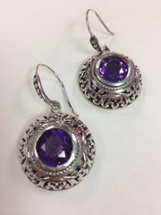 Amethyst Filigree Earrings set in S.S.