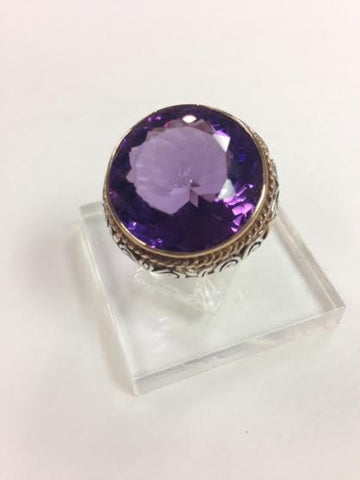 Round Amethyst Two Tone Ring