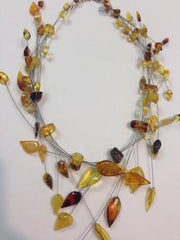 Multi Strand Amber Wire Necklace