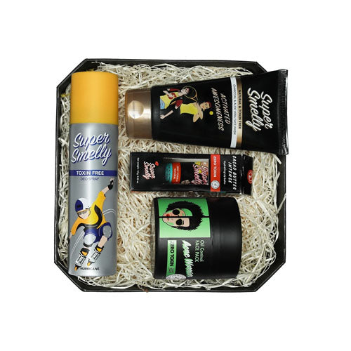 Super Smelly - Zero Toxin Free and Natural Super Smell and Face Care Gift Pack for Boys, with Deodorant, Face Wash, Face Pack and Lip Balm