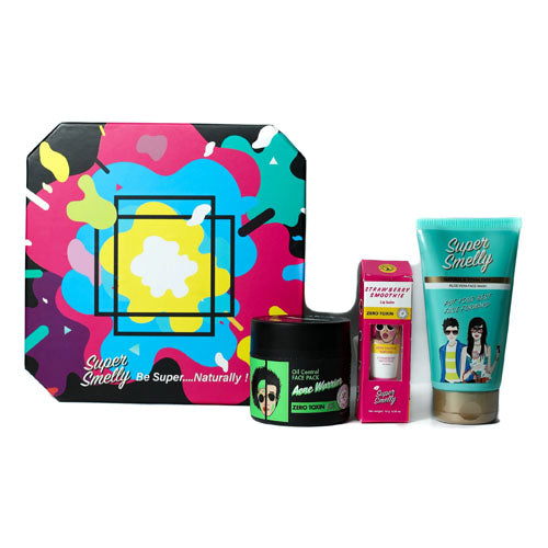 Super Smelly - Zero Toxin Free and Natural The Super Skin Care Regime Gift Pack For Girls With Face Wash, Face Pack and Lip Balm