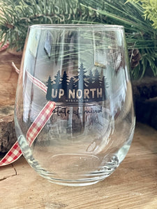 Wooded Up north stemless wine glass