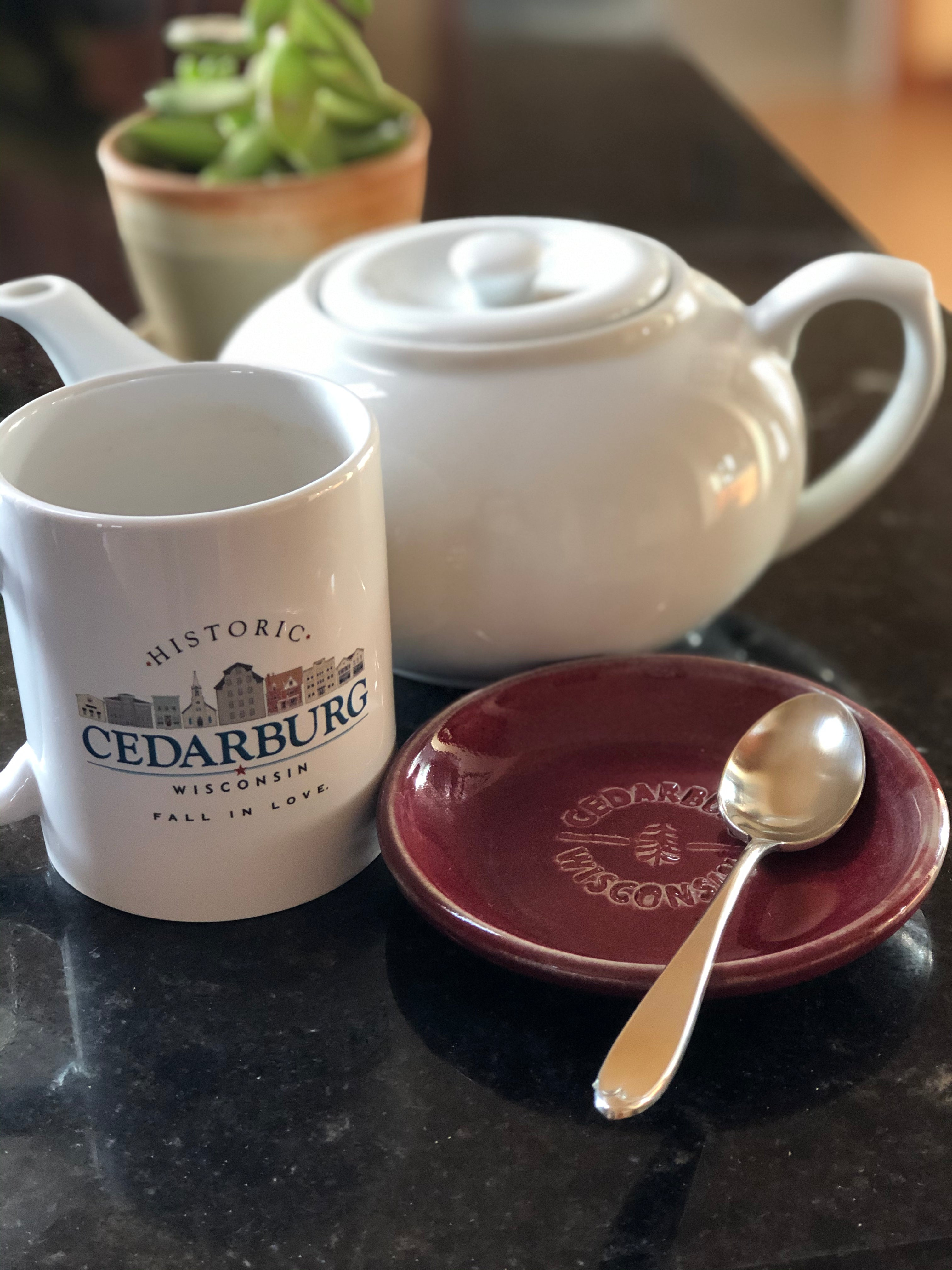 White printed ceramic downtown Cedarburg mugs with small ceramic plate with Cedarburg imprint