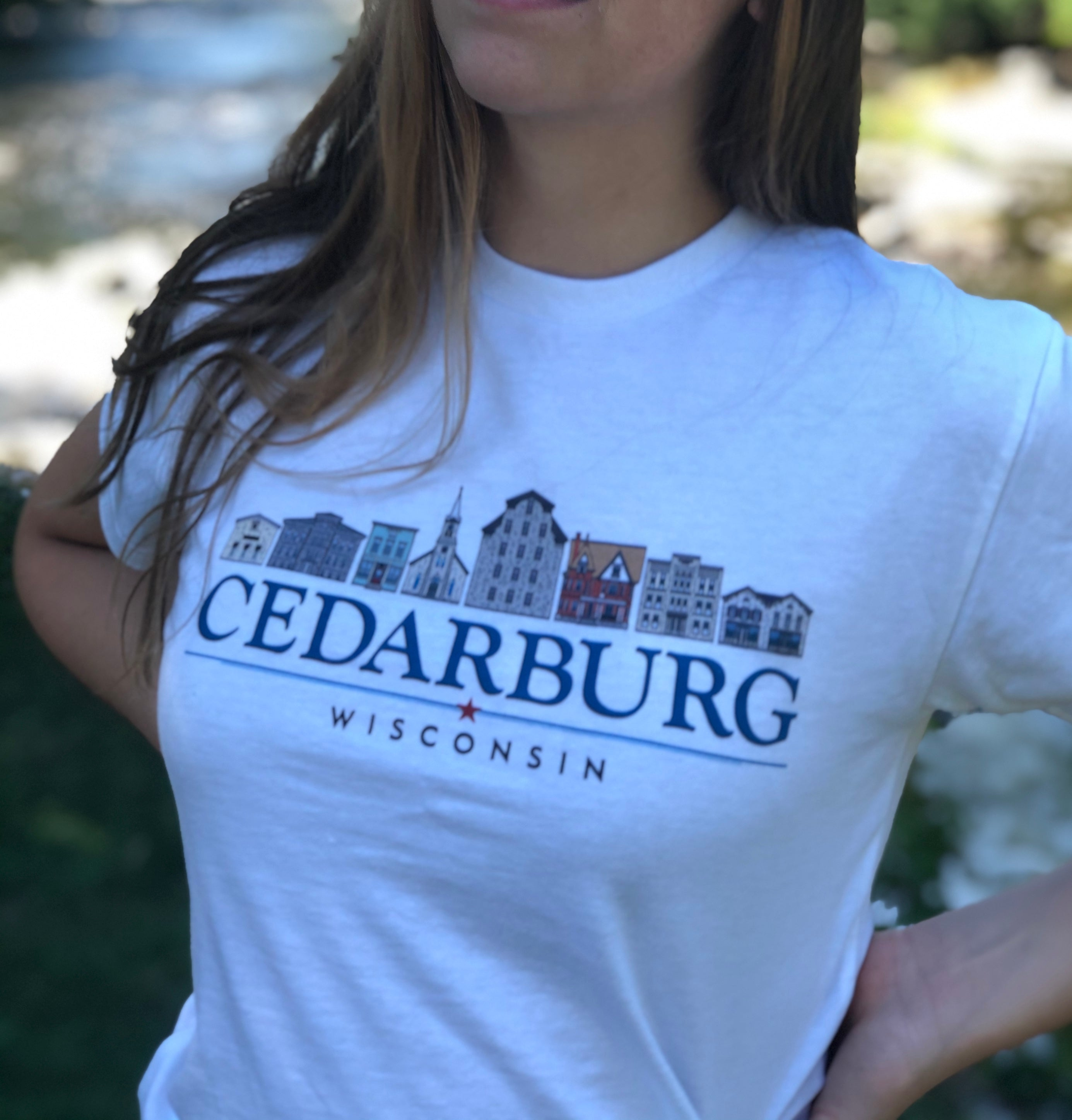 Unisex eco white t-shirt with Downtown Cedarburg color design