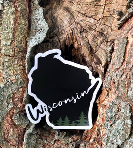 Wisconsin Evergreen Script vinyl sticker