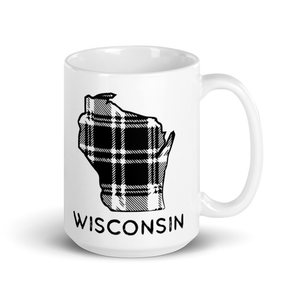 15 ounce white ceramic mug with  Wisconsin Plaid design in black