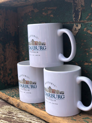 White ceramic printed downtown Cedarburg mugs