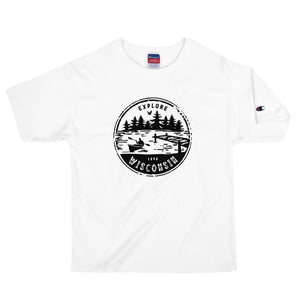 White Champion men's t-shirt with black Explore Wisconsin design