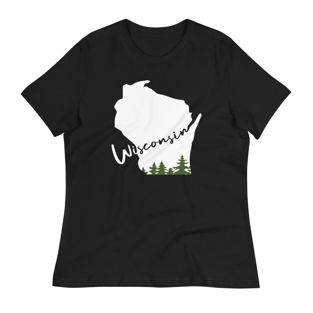 Black Women's relaxed tee with white and green Wisconsin evergreen script design