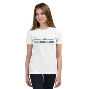 White Youth unisex tee with teal Cedarburg 1843 design