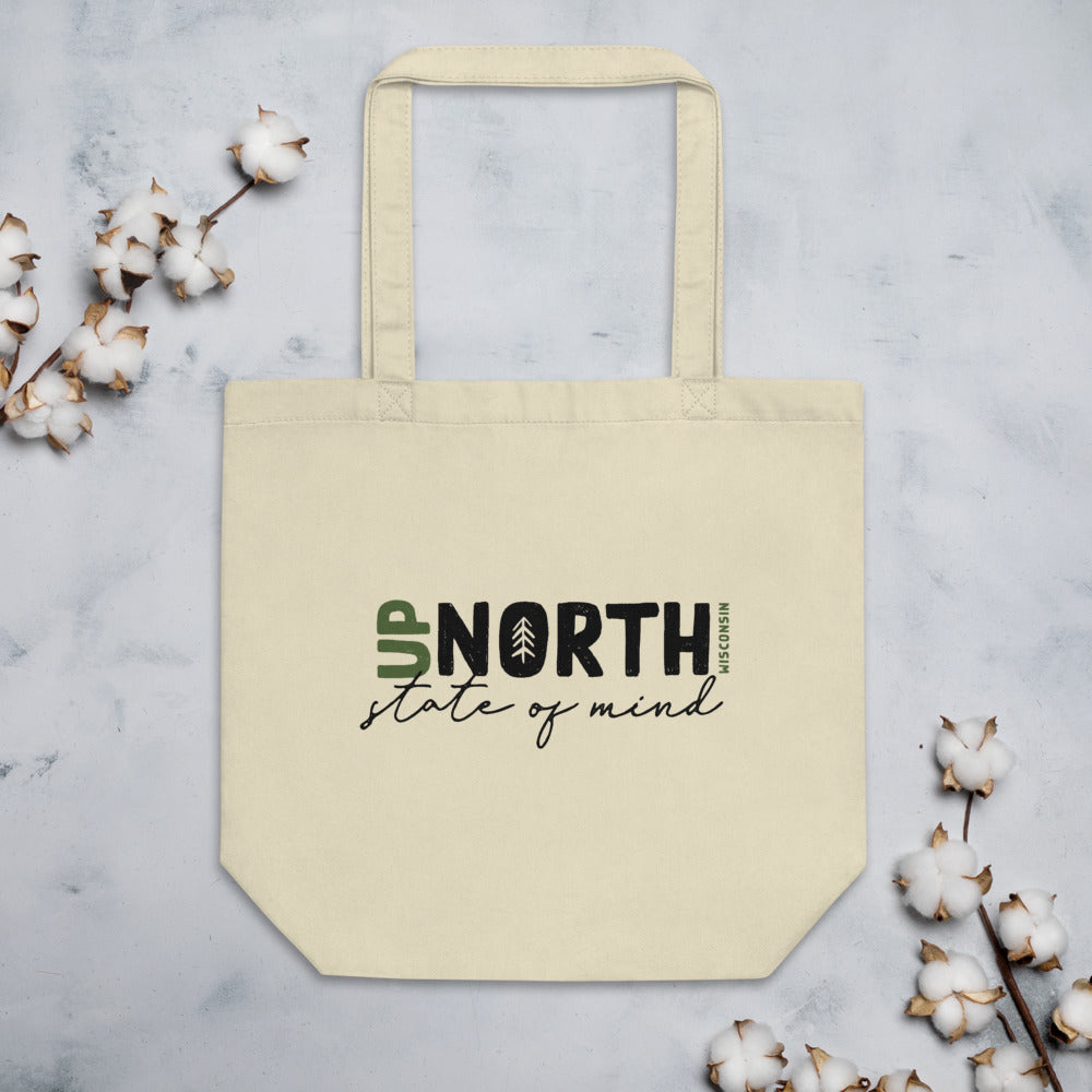 Natural Eco Tote made of organic cotton with Up North state of mind script design