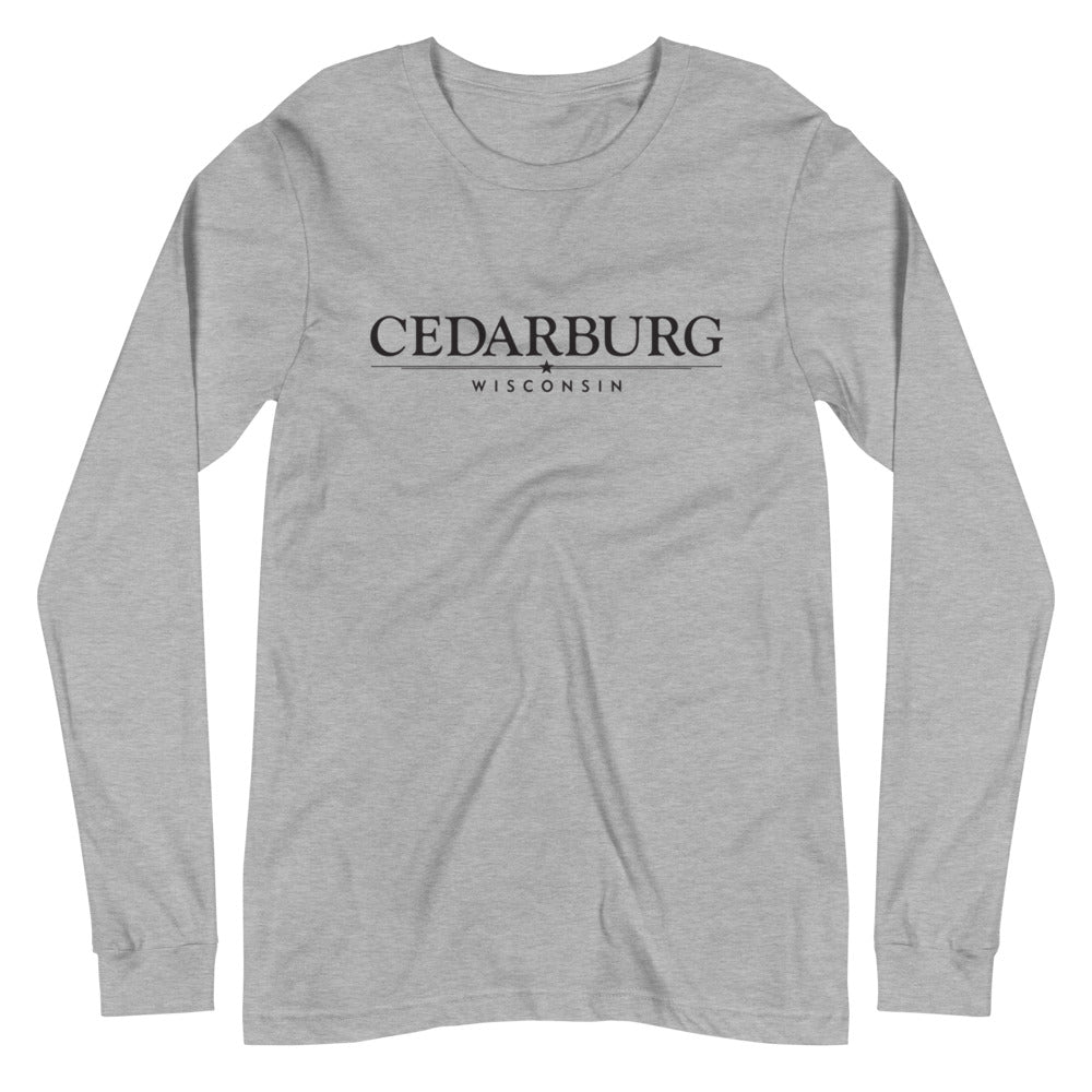 Athletic Heather long sleeve t-shirt with Cedarburg, Wisconsin design with star in black print