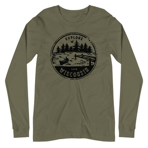 Military Green Unisex Long Sleeve Tee with Explore Wisconsin design in black