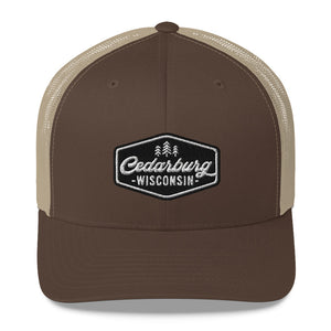 Brown and Khaki Trucker Style Hat with Vintage Cedarburg Logo in Black