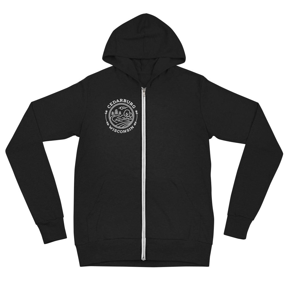 Black unisex zip up Hoodie with white Nature Circle design