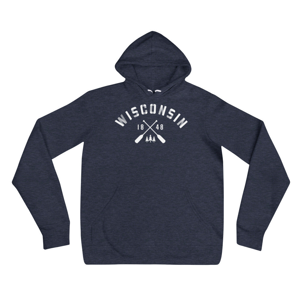 Heather Navy Unisex Hoodie with white Wisconsin Paddle Design