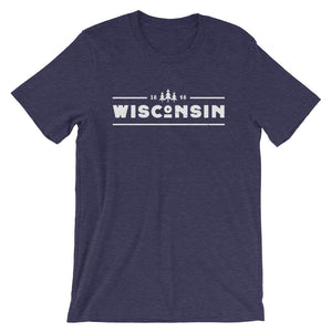 Heather Midnight Navy short sleeve unisex tee with 1848 Wisconsin design in White