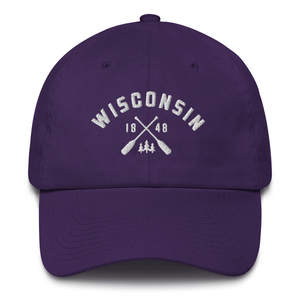 Purple cotton baseball cap with Wisconsin paddle design in white