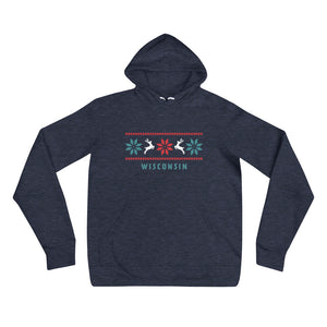 Heather Navy unisex hoodie with Reindeer Wisconsin design