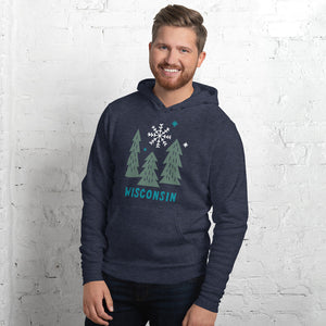 Male model wearing heather navy unisex hoodie with deep Green snowy Wisconsin design