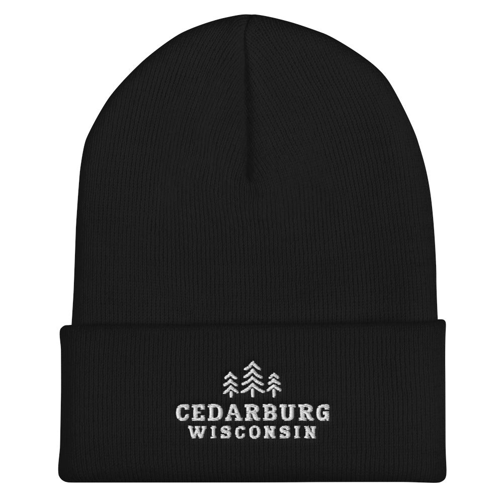 Black cuffed beanie with three tree Cedarburg, Wisconsin embroidered design in white