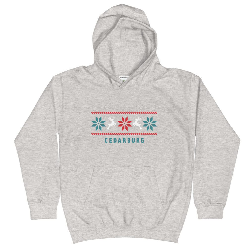 Heather Grey kids unisex hoodie with Reindeer Cedarburg design