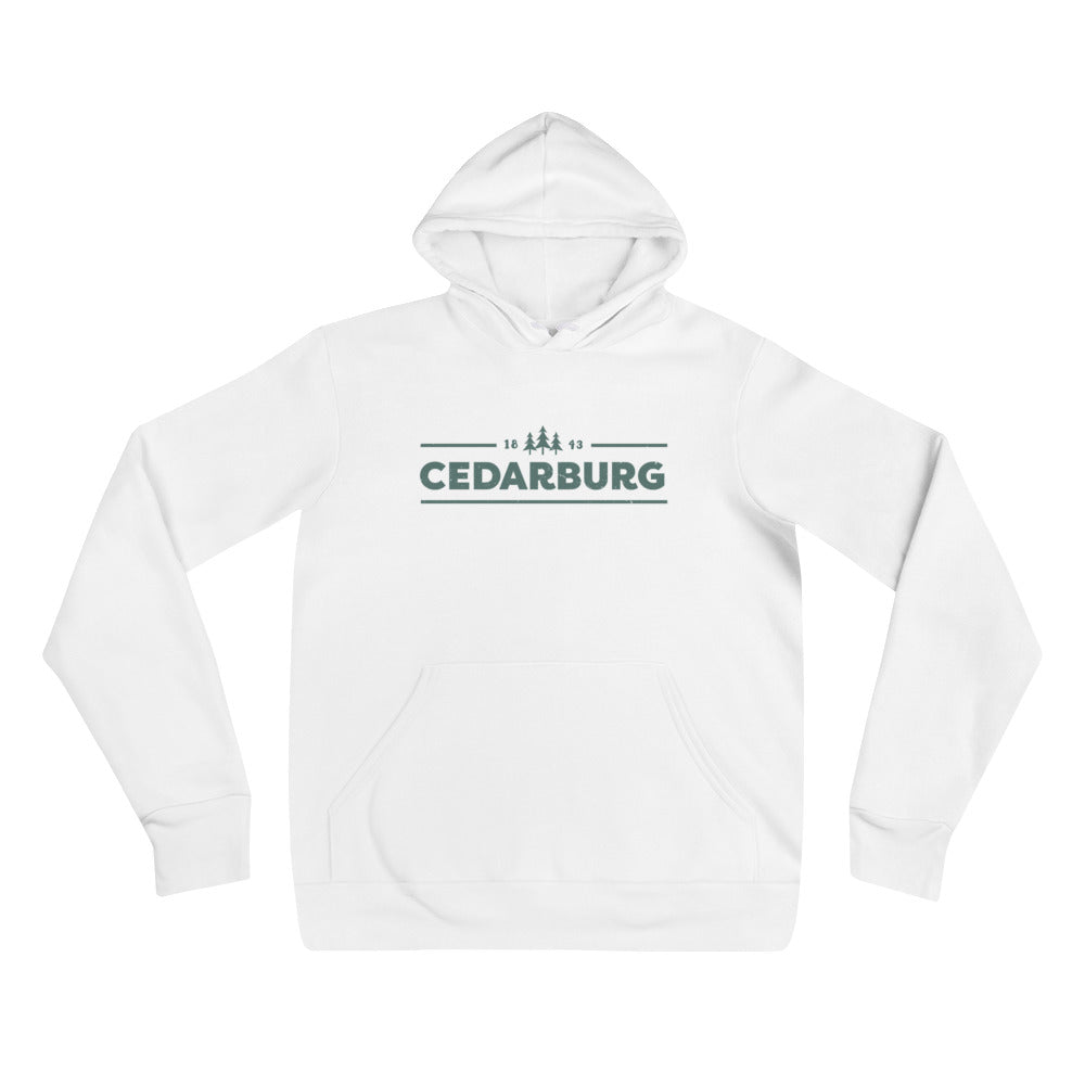 White unisex hoodie with teal Cedarburg 1843 design