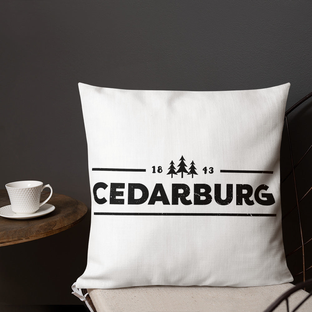 18 by 18 inch pillow with 1843 Cedarburg design in black