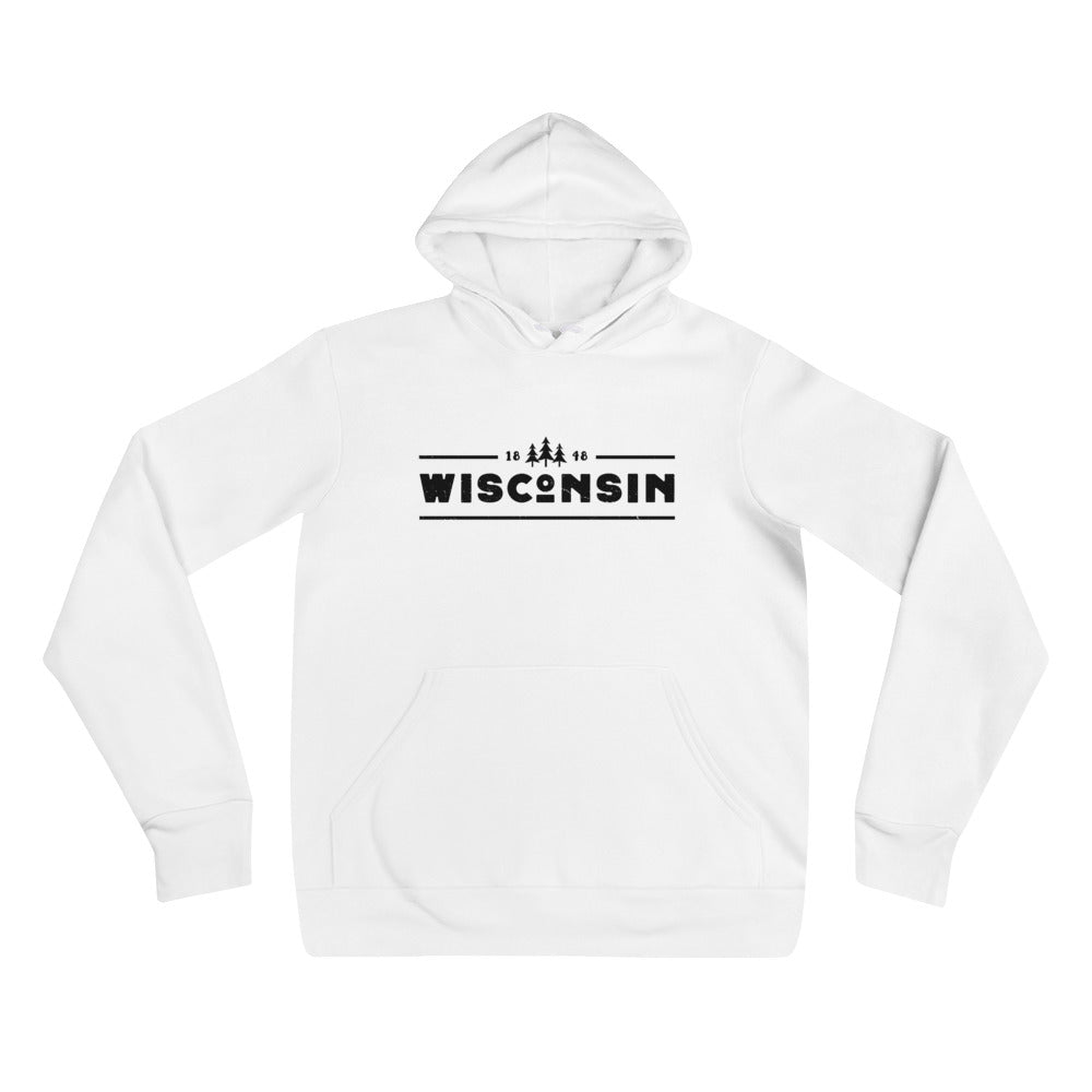 White unisex hoodie with 1848 Wisconsin design in black