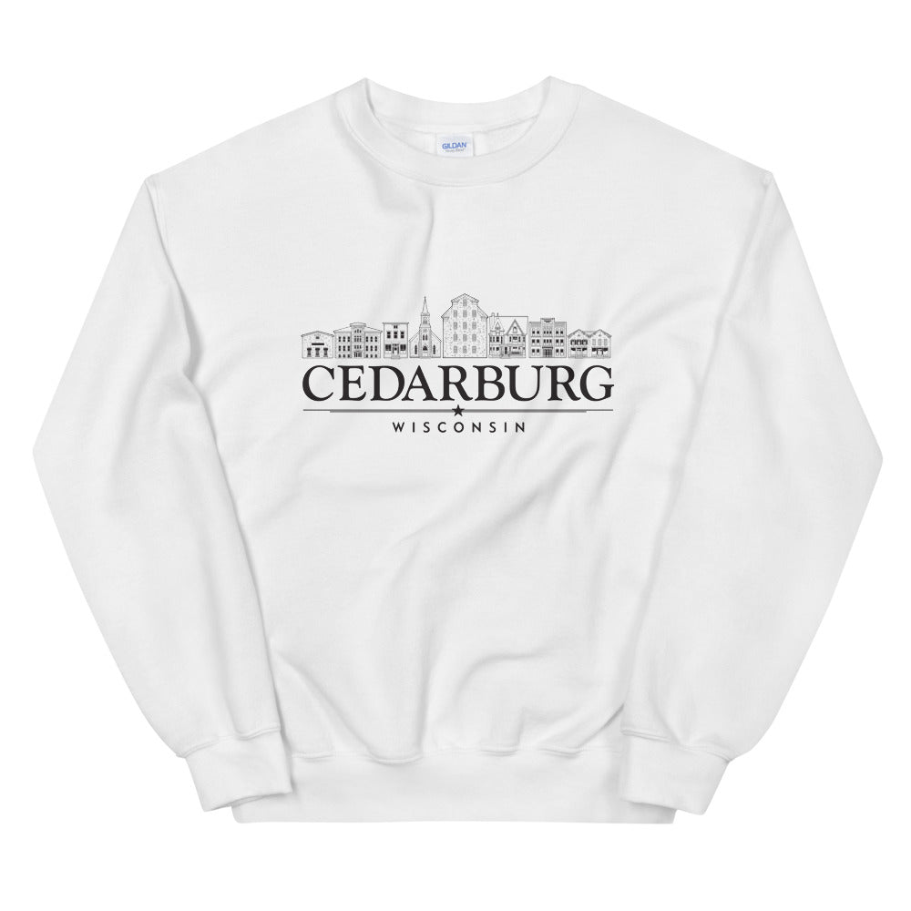 White sweatshirt with downtown Cedarburg design in black